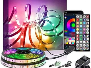 40Ft lED Strip lights Phone App Control with IR Remote Built in Mic Music Sync lED lights for Bedroom  Dorm Room  Home Decoration  40Ft APP  Remote  Mic Control