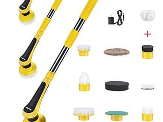 iMartine Bathtub Power Scrubber  Upgraded Electric Cordless Shower Scrubber with 9 Replaceable Cleaning Brush Heads  1 Extendable Handle  1 Adapter for Baseboard  Tub  Tile  Corner  Sink