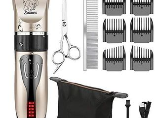 Yabife Dog Clippers  USB Rechargeable Cordless Dog Grooming Kit  Electric Pets Hair Trimmers Shaver Shears for Dogs and Cats  Quiet  Washable  with lED Display  Gold