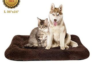 Poohom Soft Plush Dog Bed Dog Crate Bed Pet Cushion Pet Pillow Bed Washable Non Slip Crate Dog Bed Crate Mat Pet Bed for Medium large Dogs  large  Brown