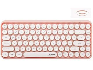 Wireless Bluetooth Keyboard  Mini Portable 84 Key Typewriter Retro Round Keycaps Keyboard Compatible with Android  Windows  PC  Tablet Dark  Perfer for Home and Office Keyboards Pink