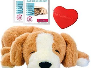 Calmeroos Puppy Heartbeat Toy Sleep Aid with 2 long lasting Heat Packs last 36 Hours Each Puppy Anxiety Relief Soother Dogs Cuddle Snuggle Calming Behavioral Aid for Pets  Brown