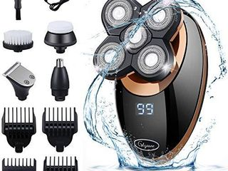 Glynee Electric Shaver Razor for Men Shaver Trimmer Grooming 5 in 1 Rotary Cordless Hair Clippers for Perfect Bald look lED Display IPX7 Waterproof Quick USB Rechargeable  Gold