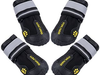 QUMY Dog Boots Waterproof Shoes for Dogs with Reflective Strips Rugged Anti Slip Sole Black 4PCS  Size 4  2 6 x2 1 lW  black
