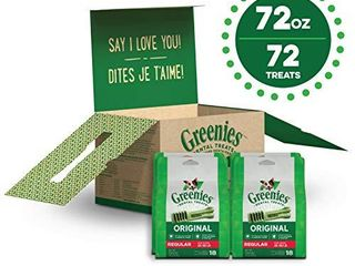 GREENIES Original Regular Natural Dog Dental Care Chews Oral Health Dog Treats  72 oz  Pack  72 Treats