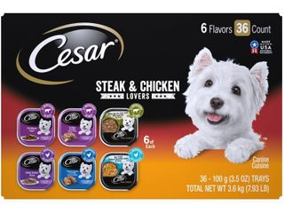 36 Pack  CESAR Wet Dog Food Steak and Chicken lovers Variety Pack with Real Meat or Real Chicken  3 5 oz  Easy Peel Trays