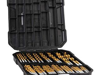 99 Pieces Titanium Twist Drill Bit Set  Anti Walking 135A Tip High Speed Steel  Size from 1 16  up to 3 8  Ideal for Wood Steel Aluminum Zinc Alloy  with Hard Storage