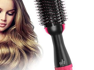 Hot Air Brush Hair Dryer Brush  Hair Dryer and Volumizer Salon Negative One Ionic Step Hair Straightener Brush Ceramic Electric Blow Dryer  Curler  Straightener  Styler Brush with 2Pcs Hair Clips