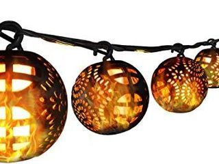 Globe Patio lights Outdoor String lights 8 Flickering Flame light for Christmas Hanging lights with Ip65 Patio String lights  Decorative lights for Backyard Bistro Porch Garden Cafe Party