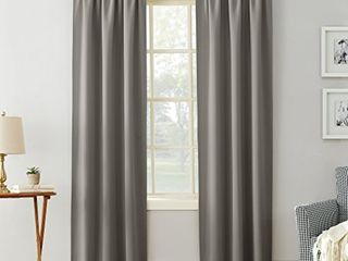 Sun Zero 51745 Easton Blackout Energy Efficient Rod Pocket Curtain Panel  40  x 84  Gray  Set of 2