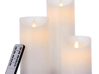glowiu Flameless Flickering lED Candles Moving Flame  Battery Candles Set of 3 H 4 6 8  x D3  Real Wax Pillar with 10 Key Remote Multi Function  White