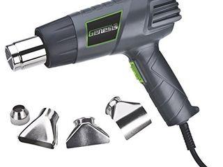 Genesis GHG1500A 12 5 Amp Dual Temperature Heat Gun Kit with High and low Settings  Air Reduction Nozzle  Reflector Nozzle  and Two Deflector Nozzles