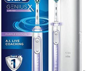 Oral B Genius X limited  Rechargeable Electric Toothbrush with Artificial Intelligence  Replacement Brush Head  Travel Case  Orchid Purple