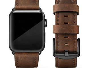 SWEES leather Bands Compatible with iWatch 42mm 44mm Women Men  Genuine leather Vintage Strap Silver Buckle Compatible iWatch SE Series 6 Series 5 Series 4 Series 3 Series 2 Series 1  Retro Brown