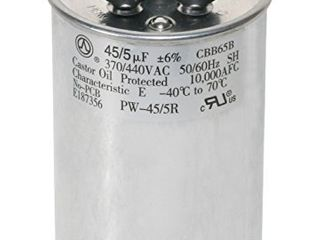 PowerWell 45 5 MFD 45 5 uf 370 or 440 Volt Dual Run Round Capacitor PW 45 5 R for Condenser Straight Cool or Heat Pump Air Conditioner