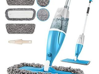 POPTEN Microfiber Spray Floor Mops for Floors Cleaning 360 Degree Cleaning Kitchen Mop with 640Ml Refillable Bottle 3 Washable Mop Pads and 1 Scraper Dust Mop Wet Mop for laminate Hardwood Ceramic