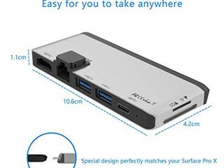 Surface Pro X Hub Docking Station  with 4K HDMI Adapter 1000M Gigabit Ethernet lAN  USB C PD Charging  2 Port USB 3 0 SD TF Micro SD  Card Reader Converter Combo Adaptor for Microsoft Surface Pro X