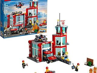 lEGO City Fire Station 60215 Fire Rescue Tower Building Set with Emergency Vehicle Toys includes Firefighter Minifigures for Creative Play  509 Pieces
