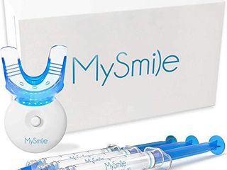 MySmile Teeth Whitening Kit with lED light  3 Non Sensitive Teeth Whitening Gel and Tray  Deluxe 10 Min Fast Result Carbamide Peroxide Teeth Whitener  help Remove Teeth Stain from coffee  drinks  food