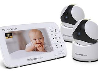5  HD Baby Monitor  Babysense Video Baby Monitor with Camera and Audio  Two HD Cameras with Remote PTZ  960ft Range  Two Way Audio  Zoom  Night Vision  Secure Hack Free and Portable