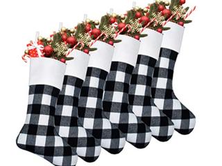 White and Black Plaid Stockings  Set of 6