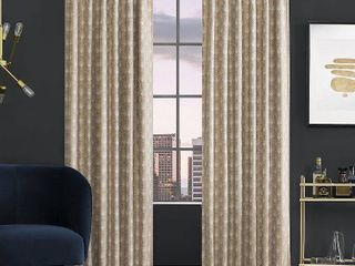 84 x50  Montauk Art Deco Total Blackout Back Tab Curtain Panel Beige   Scott living