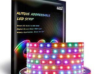 AlITOVE WS2812B Individually Addressable lED Strip light 5050 RGB 16 4ft 300 lED Pixel Flexible lamp Tube Waterproof IP67 Black PCB DC 5V