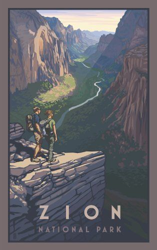 Northwest Art Mall Zion National Park Utah Zion Canyon Hikers Artwork by Paul B  leighton  11 Inch by 17 Inch