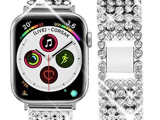 Goton Band Compatible with Apple Watch Band 40mm 38mm   Women Beads link Crystal Bling Stainless Metal Replacement Strap for iWatch Band Series SE 6 5 4 3 2 1  Silver  40mm 38mm