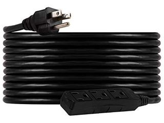 UltraPro  Black  GE 25 ft Extension  3 Outlet  Indoor Outdoor  Grounded  Double Insulated Cord  Ul listed  36825  25 ft  25 Ft