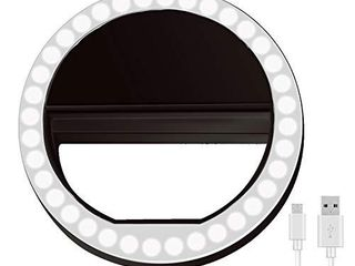 Selfie Ring light  XINBAOHONG Rechargeable Portable Clip on Selfie Fill light with 36 lED for Smart Phone Photography  Camera Video  Girl Makes up Black