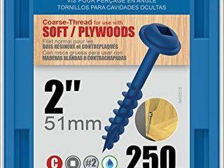 KREG SMl C2B 250 Blue Kote Weather Resistant Pocket Hole Screws   2  8 Coarse  Washer Head  250 count