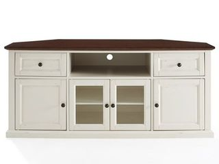 Crosley Furniture Shelby 60  Corner Tv Stand In White With Mahogany Top