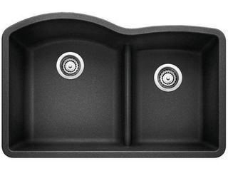 Blanco 441590 Diamond 1 75 low Divide Under Mount Double Bowl Kitchen Sink  large  Anthracite