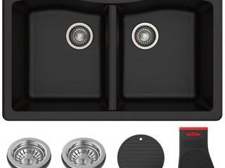 KRAUS Fortezaa 33a Dual Mount 50 50 Double Bowl Granite Kitchen Sink in Black