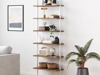 Nathan James Theo 6 Shelf Tall Bookcase Wall Mount Bookshelf Natural Wood Industrial Metal Frame Rustic Oak White
