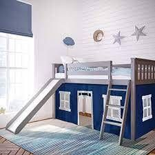 low Bunk Bed W Slide And Curtain IJ