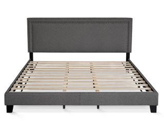 Furinno laval Double Row Nail Head Bed Frame  12PC Slat Style  Stone  King