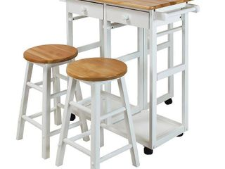 Casual Home Breakfast Kitchen Cart with Drop leaf Table White