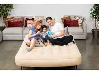 Simpli Comfy Queen EZ Air Bed Self Inflating Air Mattress with Built in Frame  Pump and Wheeled Case