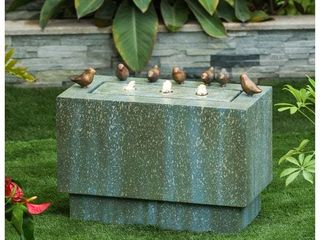 luxenHome Stone   Patina Fountain With lED lights  Retail  200 89