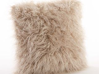 Mongolian Faux Fur Throw Pillow Oatmeal Retail   34 64