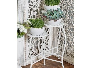 Modern White Iron Pierced Top Design Folding Plant Stand Retail   44 62