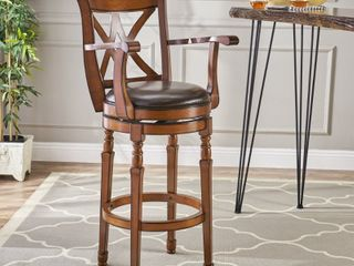 Eclipse 30 inch Brown Armed Swivel Barstool by Christopher Knight Home  Retail 163 49