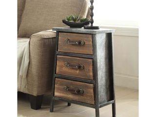 Carbon loft Smith Industrial Style Metal and Wood 3 Drawer Chest Retail 131 49