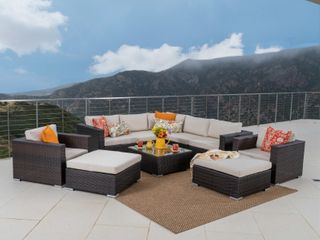Santa Rosa Outdoor 10 piece Wicker Sectional Sofa Set with Cushions by Christopher Knight Home  OTTOMAN ONlY  Retail 2 035 49