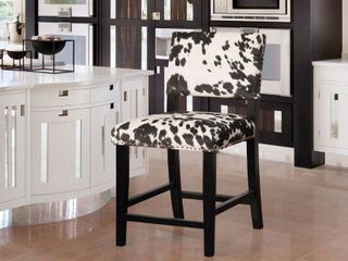 linon lemont Black Cow Print Counter Height Stool Retail 115 49