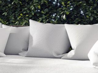DEEP CHEVRON lIGHT GREY Indoor Outdoor Pillow by Kavka Designs   18X18 Retail   41 22