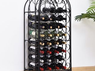 HOMCOM 35 Bottle Wrought Iron Wine Rack Jail with lock   Black Retail  94 99