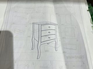 FCH White Three drawer Bedside Table with Cabriolle legs Retail 76 98